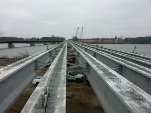 Iron workers local 55 setting precast beams over the Maumee River in December of 2015.